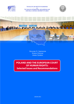 "Raport ""Poland and the European Court of Human Rights: Selected Issues and Recommendations"""